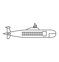 Military submarine icon outline style vector