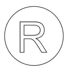 Monochrome contour with currency symbol of rand vector