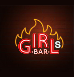 neon sign hot girls bar vector image
