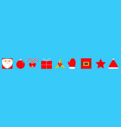 new year merry christmas icon set santa claus vector image