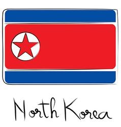North Corea flag doodle vector