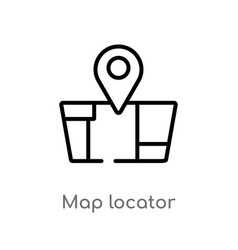Outline map locator icon isolated black simple vector