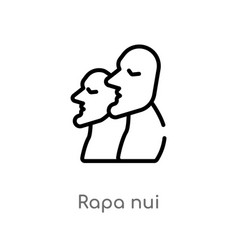 Outline rapa nui icon isolated black simple line vector