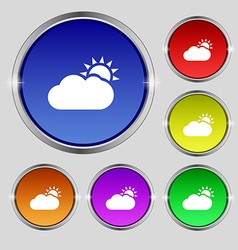 Partly Cloudy icon sign Round symbol on bright vector