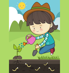 planting tree care vector image
