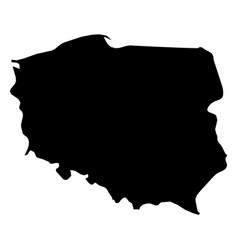 poland - solid black silhouette map of country vector image
