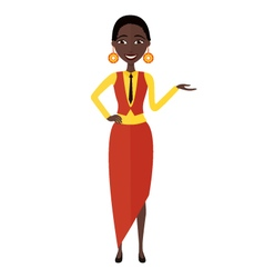 Presenting and smiling african young woman vector