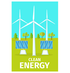 Promotional poster dedicated to clean energy use vector