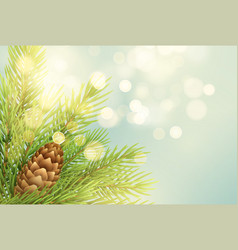 realistic fir-tree branch with pinecone vector image