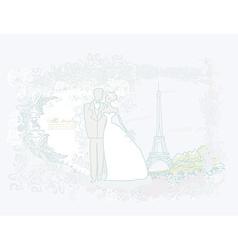 Romantic wedding couple in Paris near the Eiffel vector image
