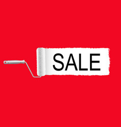sale poster and paint roller and paint stroke red vector image
