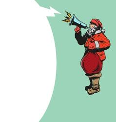 Santa Claus flat design with loudspeakerS vector image