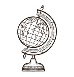 school globe isolated coloring book for adults vector image