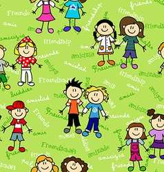 Seamless kids friendship pattern vector image