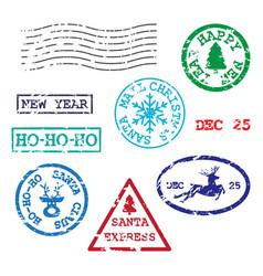 set christmas postmarks vector image