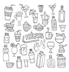 Set different hand drawn beverages vector