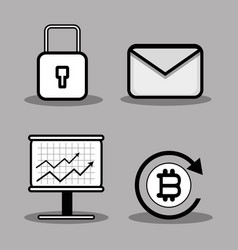 Set icon bitcoin money currency vector