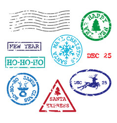 Set of christmas postmarks vector