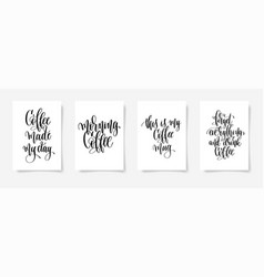set of four hand lettering poster about drink vector image