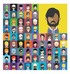 Set of people icons in flat style with faces 14 a vector image