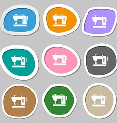 Sewing machine icon symbols Multicolored paper vector