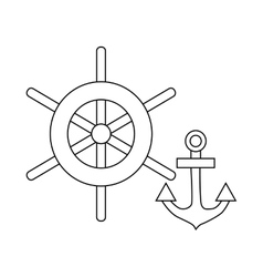 Ship wheel and anchor icon outline style vector image