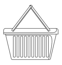 shopping basket icon in monochrome silhouette vector image