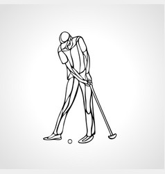 silhouette golf player outline side view vector image
