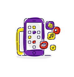 smartphones with icons social networks drawing vector image