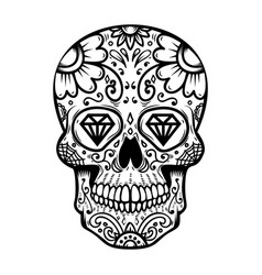 sugar skull isolated on white background day vector image