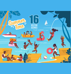 Summertime scenes set with resting families vector