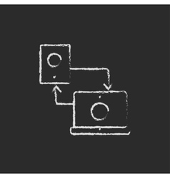 Synchronization computer with mobile device icon vector image