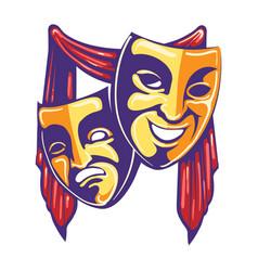 theater masks retro emblem vector image