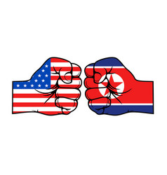 Usa america vs north korea military conflict fist vector