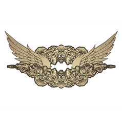 Vintage emblem with wings and floral vector