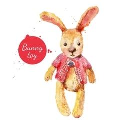 Watercolor bunny toy vector