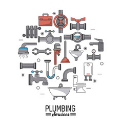 white background poster plumbing services with vector image
