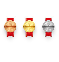 winner medals on ribbon realistic vector image