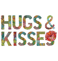Words hugs and kisses with silhouette of lips vector