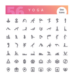 yoga line icons set vector image