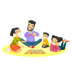 Young caucasian white family playing board game vector