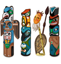 colorful totems with faces of people and birds vector image vector image