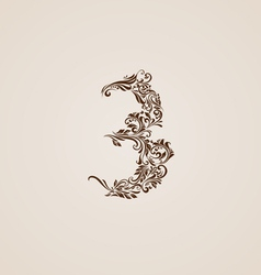 Decorated three digit on beige vector image