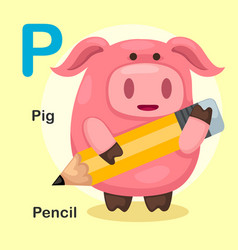 isolated animal alphabet letter p-pig pencil vector image