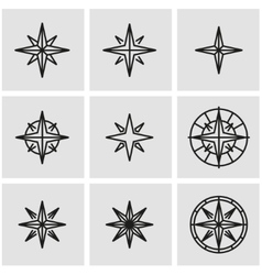 line wind rose icon set vector image vector image