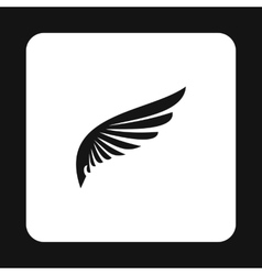 Black wing of bird icon simple style vector image