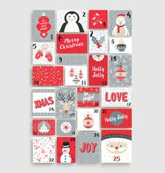 cute merry christmas advent calendar for holiday vector image