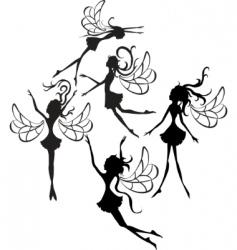 fairies silhouettes vector image