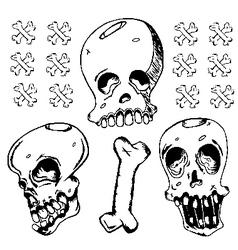 Grunge Black Ink Doodle Skull vector image