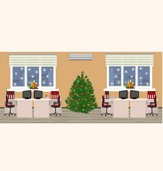 office room interior in christmas design with two vector image vector image